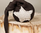 Upcycled Brown Newborn Boy Hat with Large Star