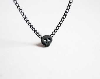 tiny black skull necklace - modern dainty jewelry / gift for her under 20usd