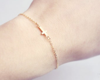 tiny sideways cross bracelet - dainty, minimalist gold jewelry, gift for her under 15 usd
