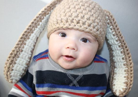Free Crochet Pattern For Rabbit Ears : Floppy Eared Bunny Hat Easy Crochet PDF Pattern Toddler