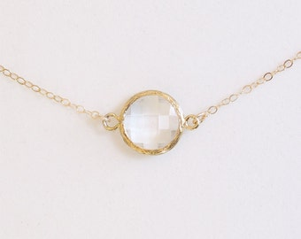 Crystal Clear Stone Necklace - Gold Filled Chain - Faceted Clear Dot in Gold - Classic Necklace