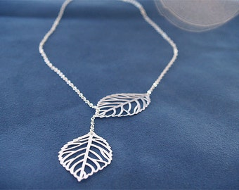 Silver Leaf Necklace - Leaf Lariat - Sterling Silver Chain - - Modern Jewelry, Woodland, Silver Bridesmaid Jewelry