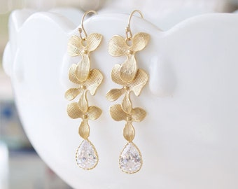 Wedding Jewelry - CZ Chandelier Earrings - Gold Filled Earwire - Triple Orchid Earrings - Bridesmaid Earrings, Cubic Zirconia