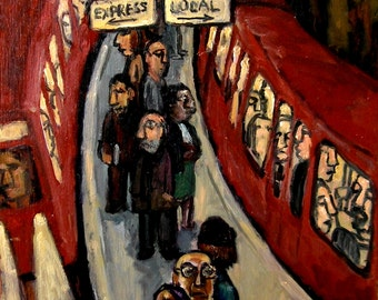 Express/Local, NYC. 11x14 Subway Oil Painting, Modern Expressionist Industrial Oil, Signed Original Fine Art