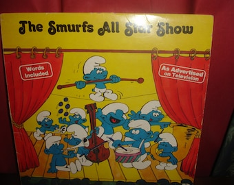 Vintage Smurf Record 1981 full sized LP Smurfs All Star Show