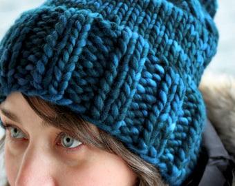 Hannah Hat Knitting Pattern Chunky Ribbed Bulky Pom Pom Slouchy PDF
