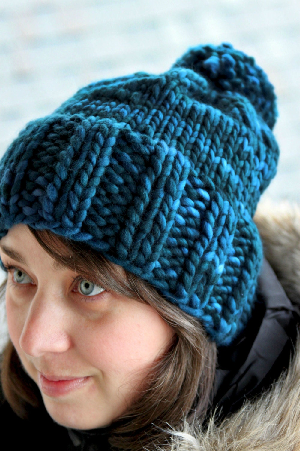 Knitting Chunky Hat : Hannah hat knitting pattern chunky ribbed bulky pom