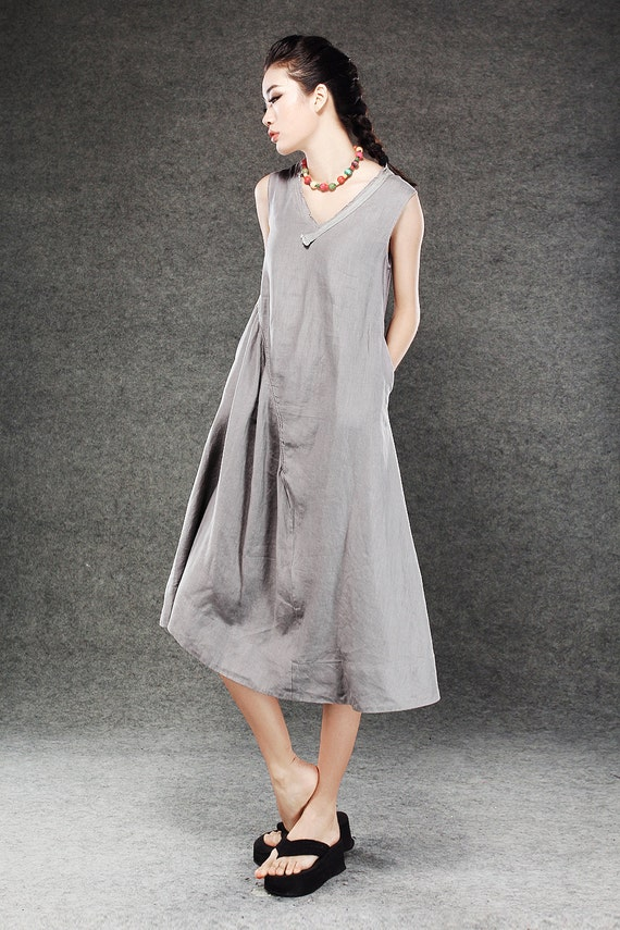 Gray Linen Dress - Lagenlook Midi Length Sleeveless V-Neck Loose-Fitting Plus Size Womens Dresses Handmade Clothing (C071)