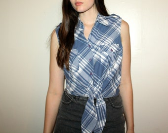 90s Blue Plaid / Tie / Crop Top
