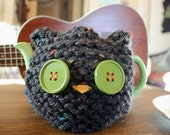 Custom Listing for Brenna! Black Speckled Owl Tea Cozy - 2 Cup