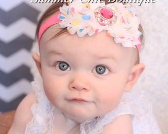Baby Headband, Infant Headband, Newborn Headband - Shabby Chic Headband Polka Dot Rosettes on Pink Fold Over Elastic