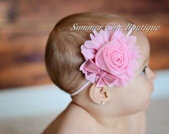 SALE Baby Headband, Infant Headband, Toddler Headband, Girls Headband, Light Pink Chiffon Rolled Rose with pink sequin bow