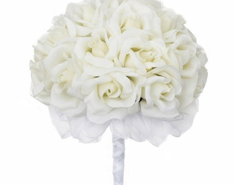 Ivory Silk Rose Hand Tie (24 Roses) - Artificial Bridal Wedding Bouquet
