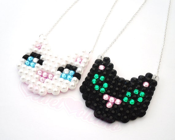 Mini Kitty Cat Necklace - Super Sparkly / Crystal Encrusted - Cute - White Kitten / Black Cat - Adorable - Kitsch