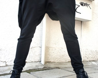 Loose Casual Black Drop Crotch Harem Pants / Extravagant Black Pants A05069