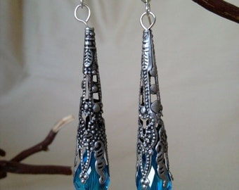 Ornate Blue Teardrop Earrings