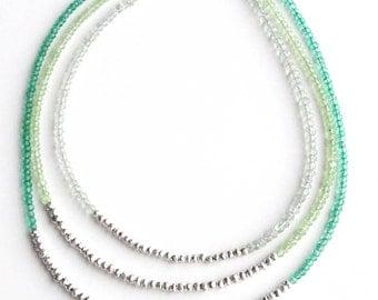 Green Ombre Multistrand Necklace, Mint Green, Seafoam Green, Silver Necklace, Pyrite Bead, Quartz