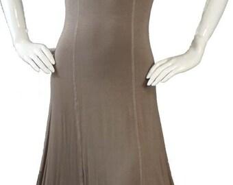 Beige Full Hippie Boho Hi Low Dress with Sweatheart Neckline in S,M and L size