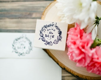 Save the Date Wedding Wreath Invitation Envelope Rubber Stamp