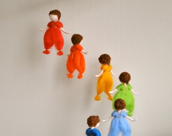 Children mobile Waldorf Inspired  : The rainbow colors mobile