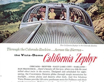 Vintage California Zephyr Ad Vista Dome Train Family Vacation in Style 1960s travel
