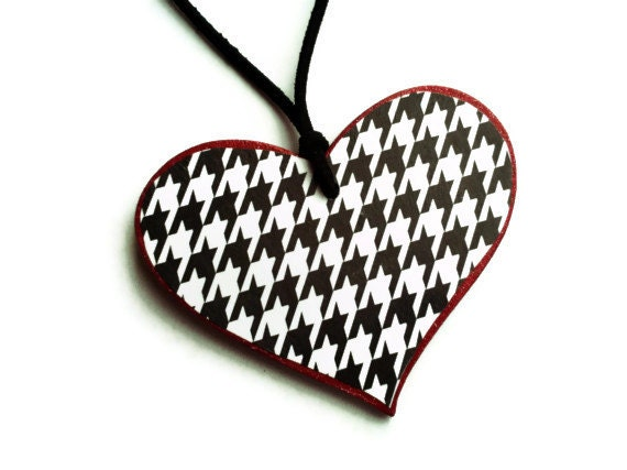 Houndstooth Heart Car Mirror Hanger / Red Glitter Heart