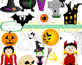 Spooky Halloween clip art set, 15 designs. INSTANT DOWNLOAD for Personal and commercial use.