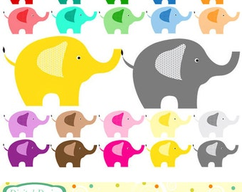Bright Elephants clip art, 20 designs. INSTANT DOWNLOAD for Personal and commercial use.