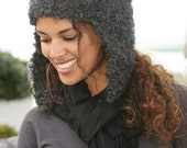 SASKIA - Knitted Ear Flap Hat - Mohair Boucle - charcoal - ready to ship - Free shipping worldwide