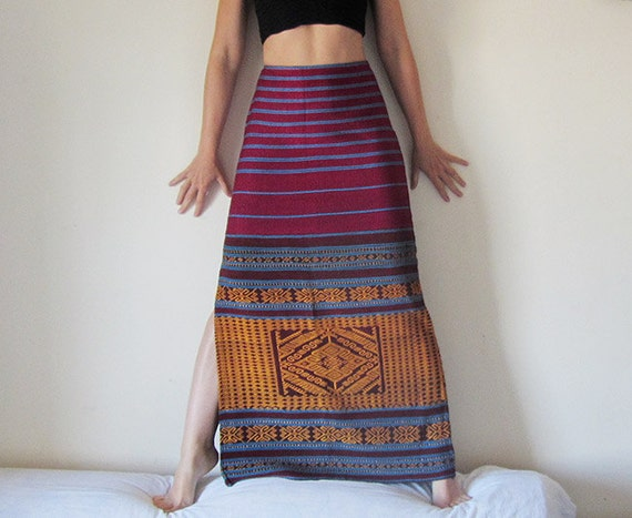 Tribal maxi A-shape skirt, made from vintage hand woven fabric in purple, blue and amber. Kilim skirt, upcycled recycled repurposed, OOAK.