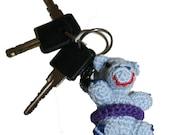 Gehaakt gelukspoppetje nijlpaard, sleutelhanger, popje blauw nijlpaard