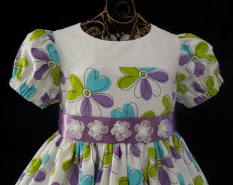 Colorful Daisy Print Toddler Dress -  READY TO SHIP