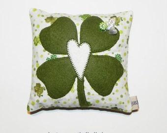 Wool Appliqué Pincushion Pillow - Heart & Four Leaf Clover