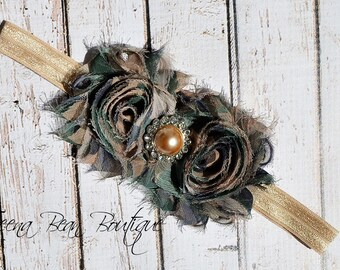 Green Camo Shabby Chic Headband, baby headband, adult headband, infant headband, child headband, shabby headband