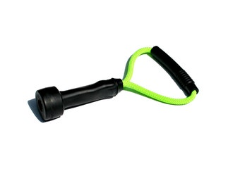 Dog Toys - Recycled Cow Milking Tube Tug Toy - Neon Green Original Size