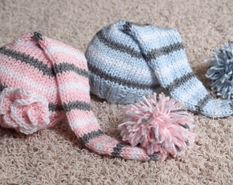 Newborn Twin Boy and Girl Knitted Elf Hats with pom pom and flower for Photography Props