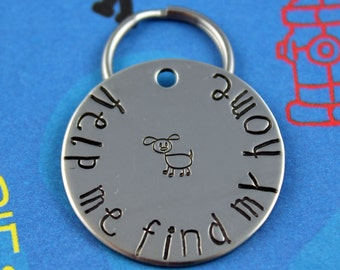 Customized Pet ID Tag - Dog or Cat Name Tag - Unique Font - Personalized - Help Me Find My Home