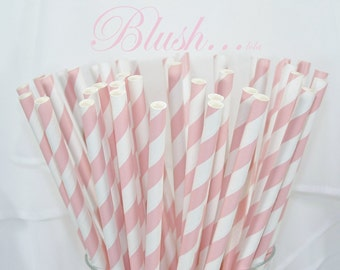 Blush BABY PINK 25 Soft Blush Pink Paper Straws-  Wedding , Showers, Tea Party , Princess