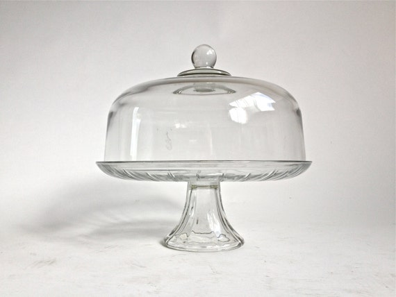 50 S Large Cut Glass Vintage Cake Plate Stand With Dome