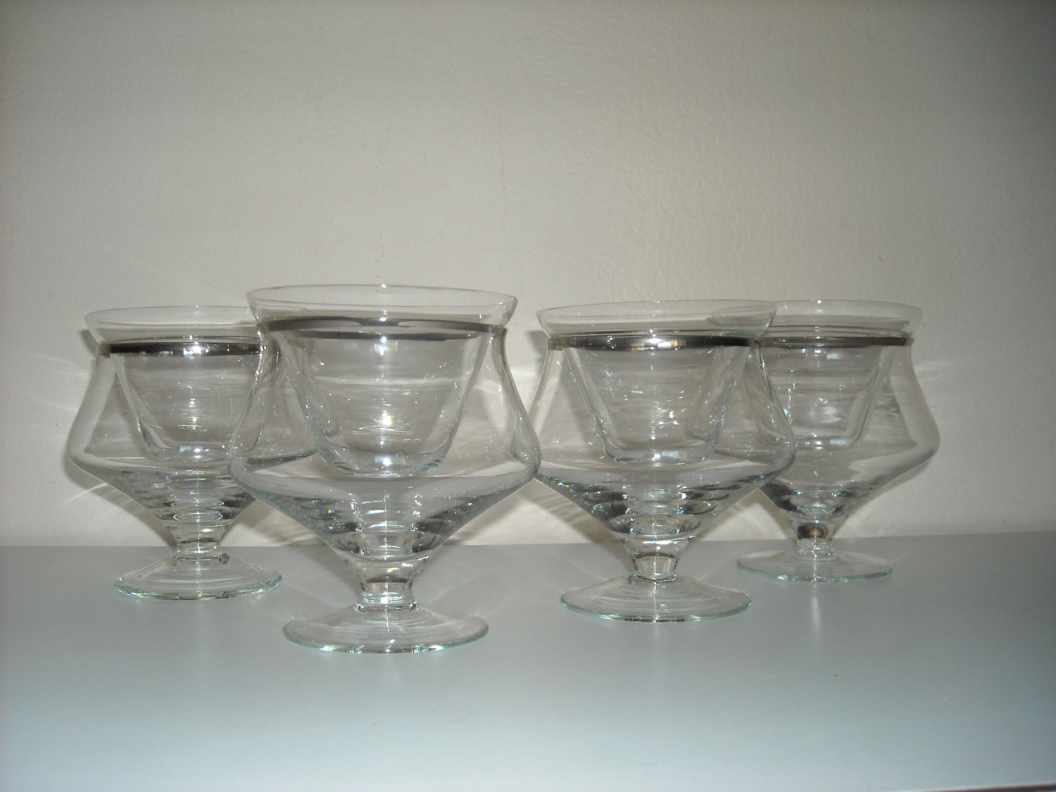 4 Silver Rim Shrimp Cocktail Glasses With Inserts Mid Century