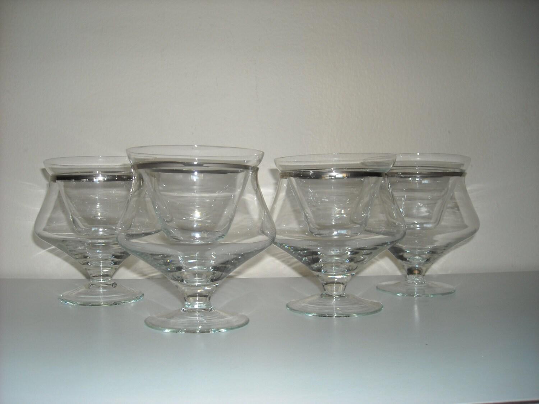 4 silver rim shrimp cocktail glasses with inserts mid century. Black Bedroom Furniture Sets. Home Design Ideas