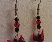 Red Bird Cardinal glass Lampwork dangle earrings