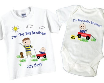 Personalized I'm The Big Brother Shirts and Matching I'm The Baby Brother Shirts with Wagon Tees