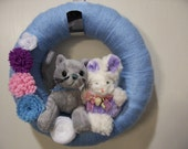 Easter Wreath, Cat and Bunny, 100% to Benefit Animal Rescue