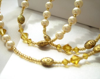 Necklace and Bracelet with Pearl, Topaz, and Gold Beads Strung Gold Glass Seed Beads