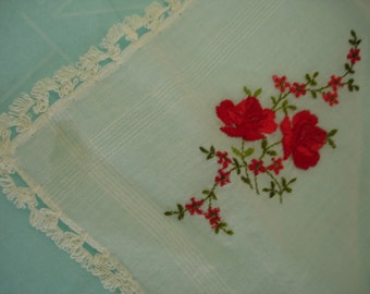 Fine Cotton Batiste Women's Handkerchief with Embroidered red Roses and Dainty Crocheted Edge