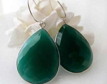 Large Green Onyx Dangle Silver Earrings, Green Bezel Gemstone, Green Drops, Emerald Green Jewelry, Sterling Silver