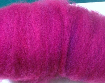 raspberry red, pink Carded Sheep WOOL batt, ROVING, felting, spinning