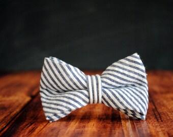 Bow Tie for Newborn, Infant, Toddler, Boy - Navy Blue Seersucker