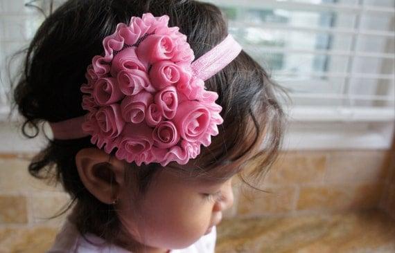 Pink Heart Shape Shabby Rose Flower Headband, Girl Headband, Baby Girl Headband, Infant Girl Headband, Newborn Girl Headband